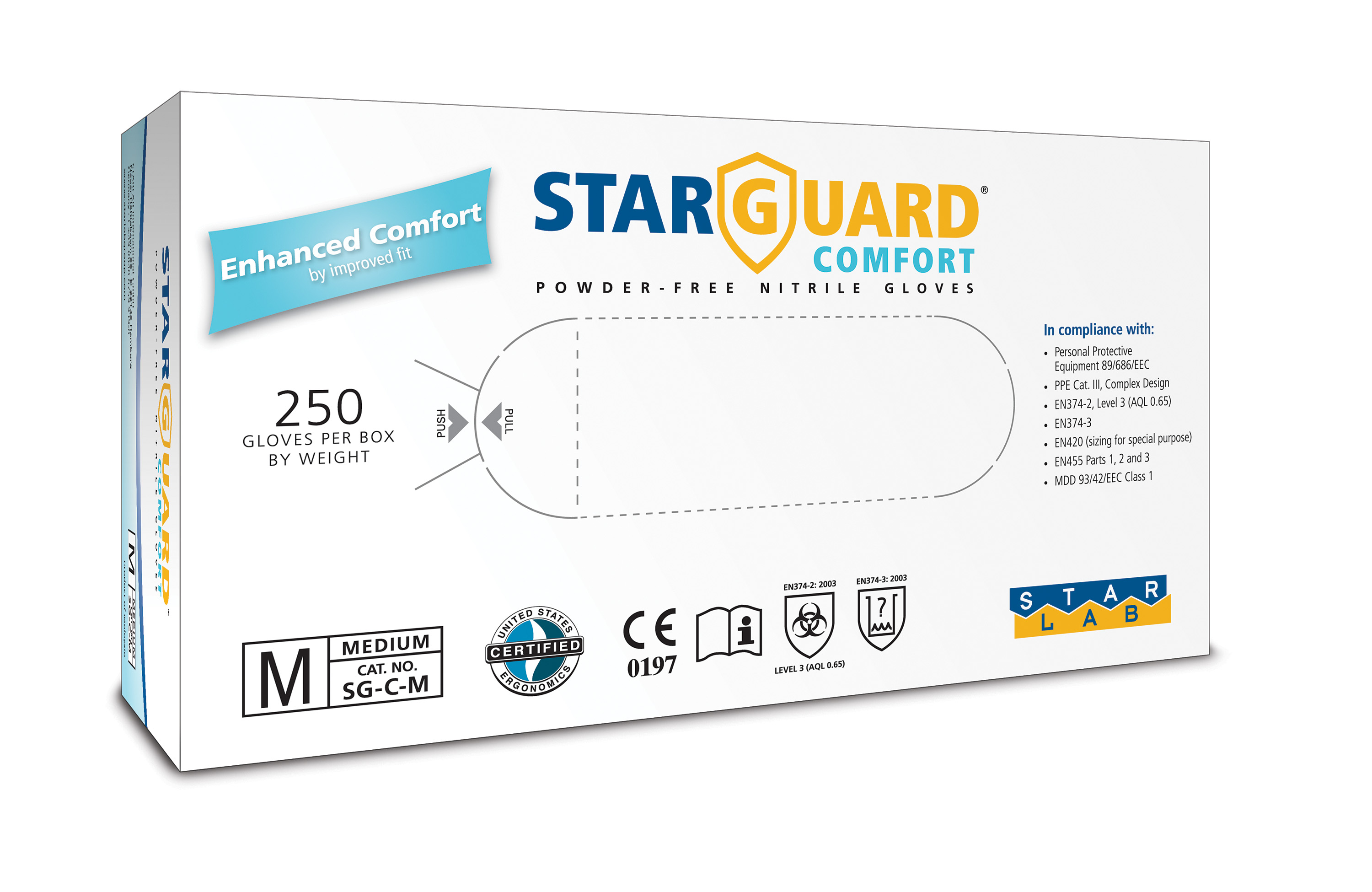 StarGuard COMFORT  (feels like Latex) Nitrile Gloves, Powder Free, Blue, Size L, Pk/ 10 x 250 gloves  - just sFr. 5,85/100 gloves