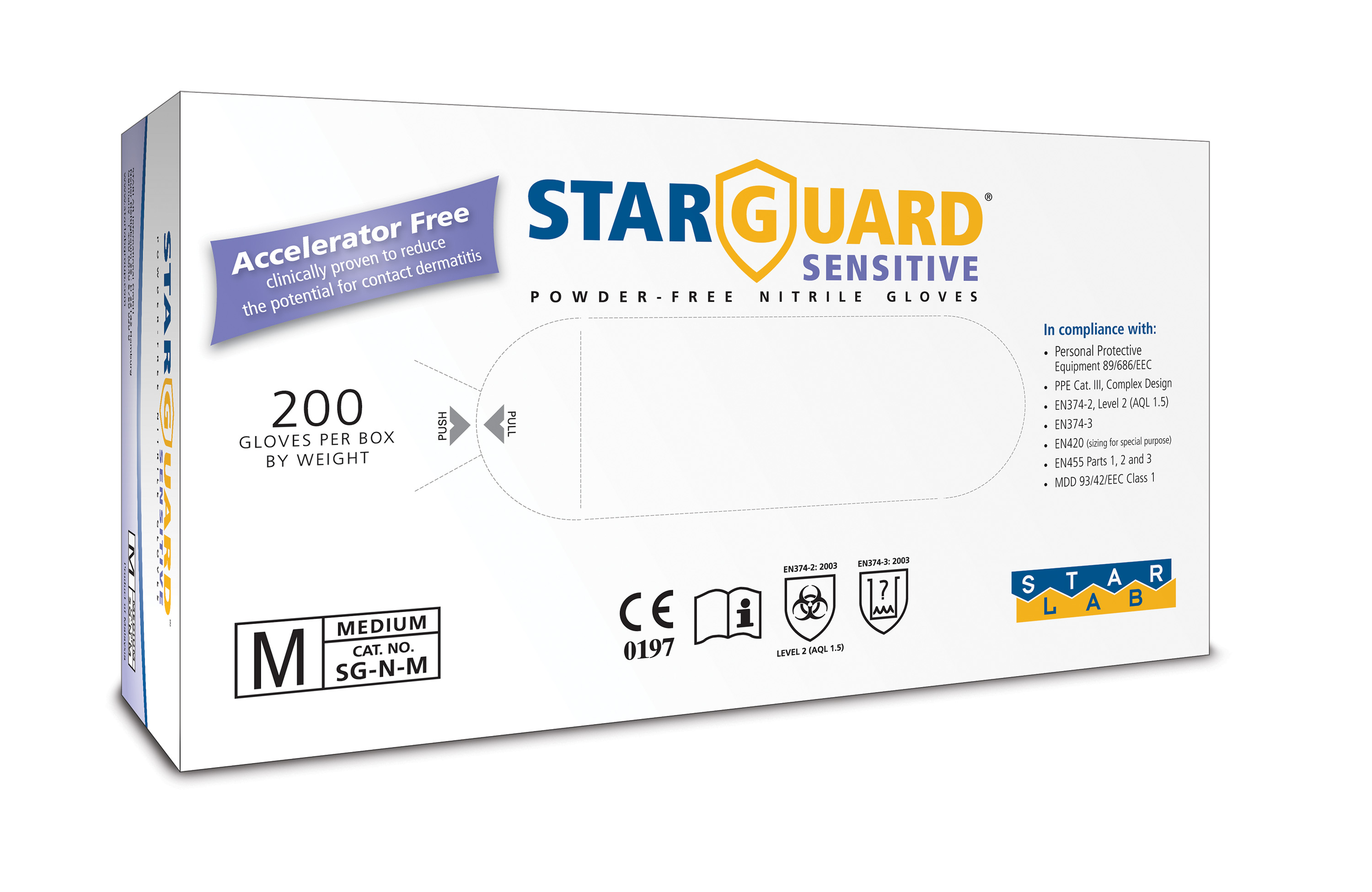 StarGuard SENSITIVE Nitrile Gloves, Powder Free, Blue, Size S, Pk/ 10 x 200 gloves - just sFr. 8,80/100 gloves