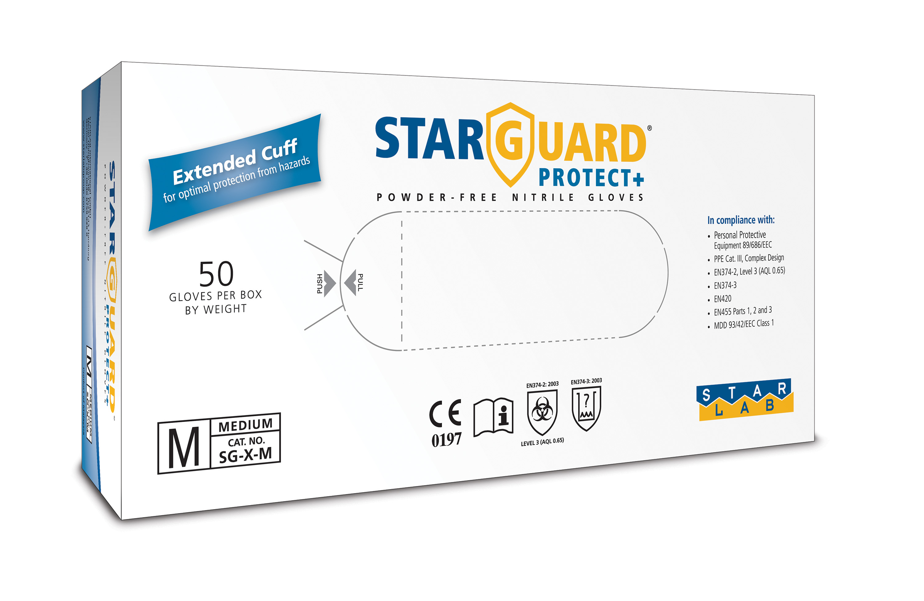 Life Systems Design :: StarGuard PROTECT+ Nitrile Gloves, Powder